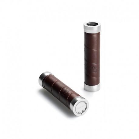Brooks Slender Leather Grip brown manopole in pelle marrone