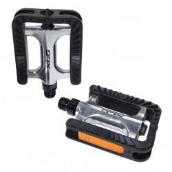 XLC  pedali gommati PD -C06 City/Trekking in alluminio argento nero