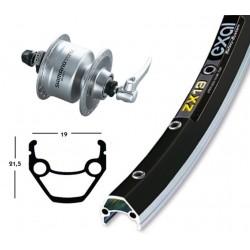 Exal X19 ruota completa dinamo a mozzo anteriore nero-argento